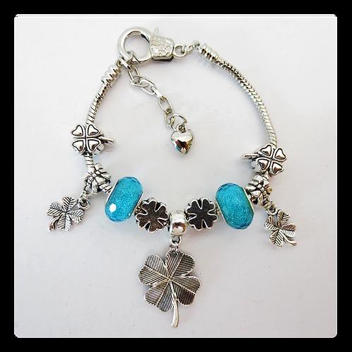 Armband Klavervier - aquablauw