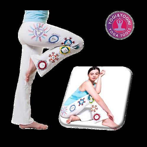 Yoga handgeschilderde chakra broek katoen wit