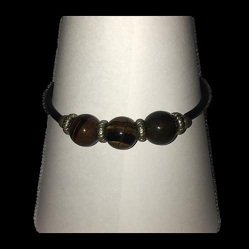 Armband met magneetsluiting - Bruin gemêleerde kralen