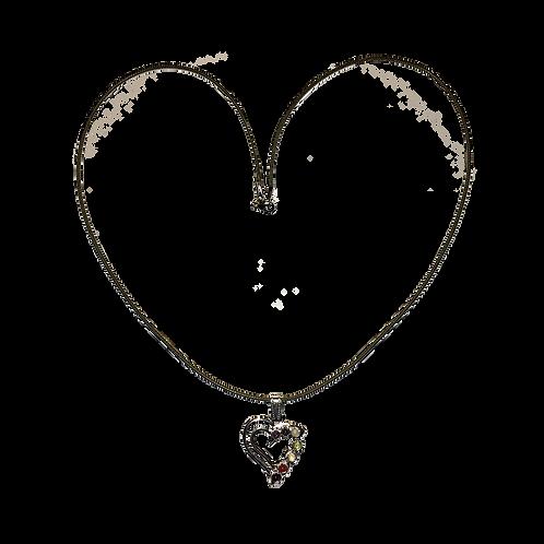 ketting zilverkleurig hart met 7 chakra stenen