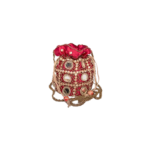 Buideltasje versierd met spiegel - rood