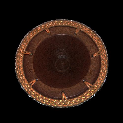 Wierookbrander - keramiek schaal - gevlochten rieten rand