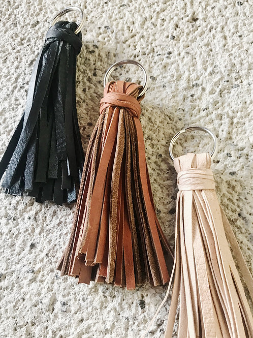 Handmade Leather Tassel Keychain