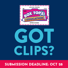Fall Box Tops Deadline: 10/28
