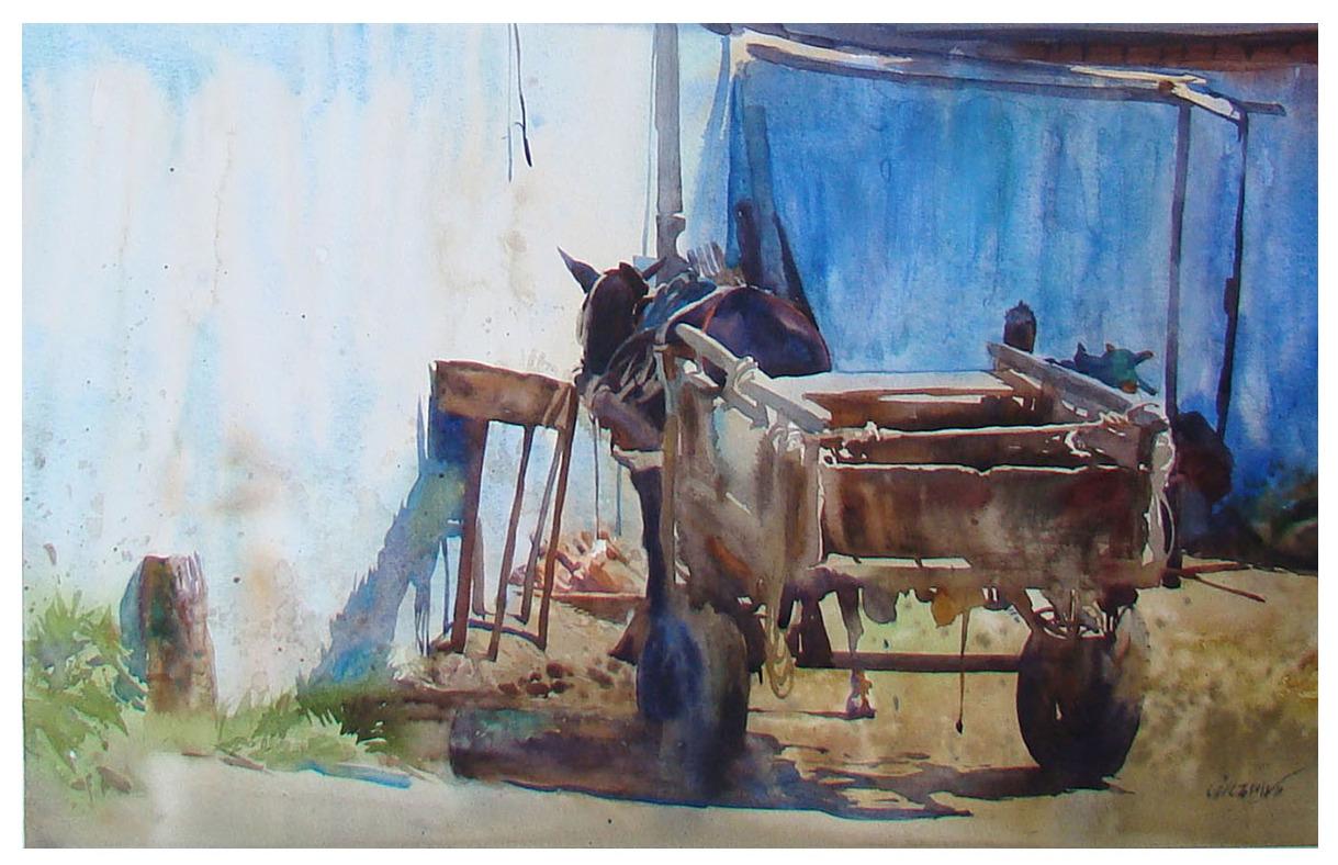 Cavalo na carroça