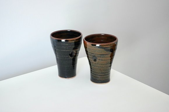 Set of 2 Liquorice Tenmoku Tall Cups