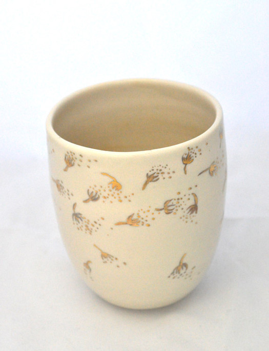 Porcelain cup with glod luster dandelions, 2013