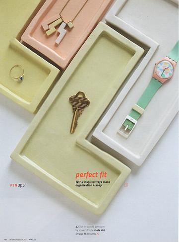 Interior Design publication circa 2014 - Click trays made of colored porcelain.