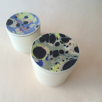 Marbled porcelain canisters, circa 2016