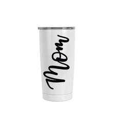 Mom tumbler with sip lid black and pink