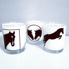 Set of three horse silhouette candles .J