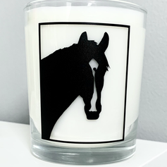 Horse head silhouette candle .heic