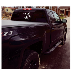 Black truck with duck permenant decal .p