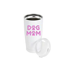 Tumbler with sip lid dog mom pink