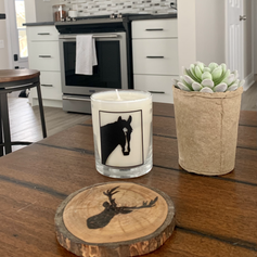 Horse candle displayed in home .heic