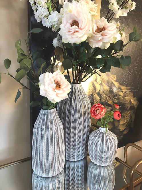 Ceramic White and Gray Vase (3 sizes)