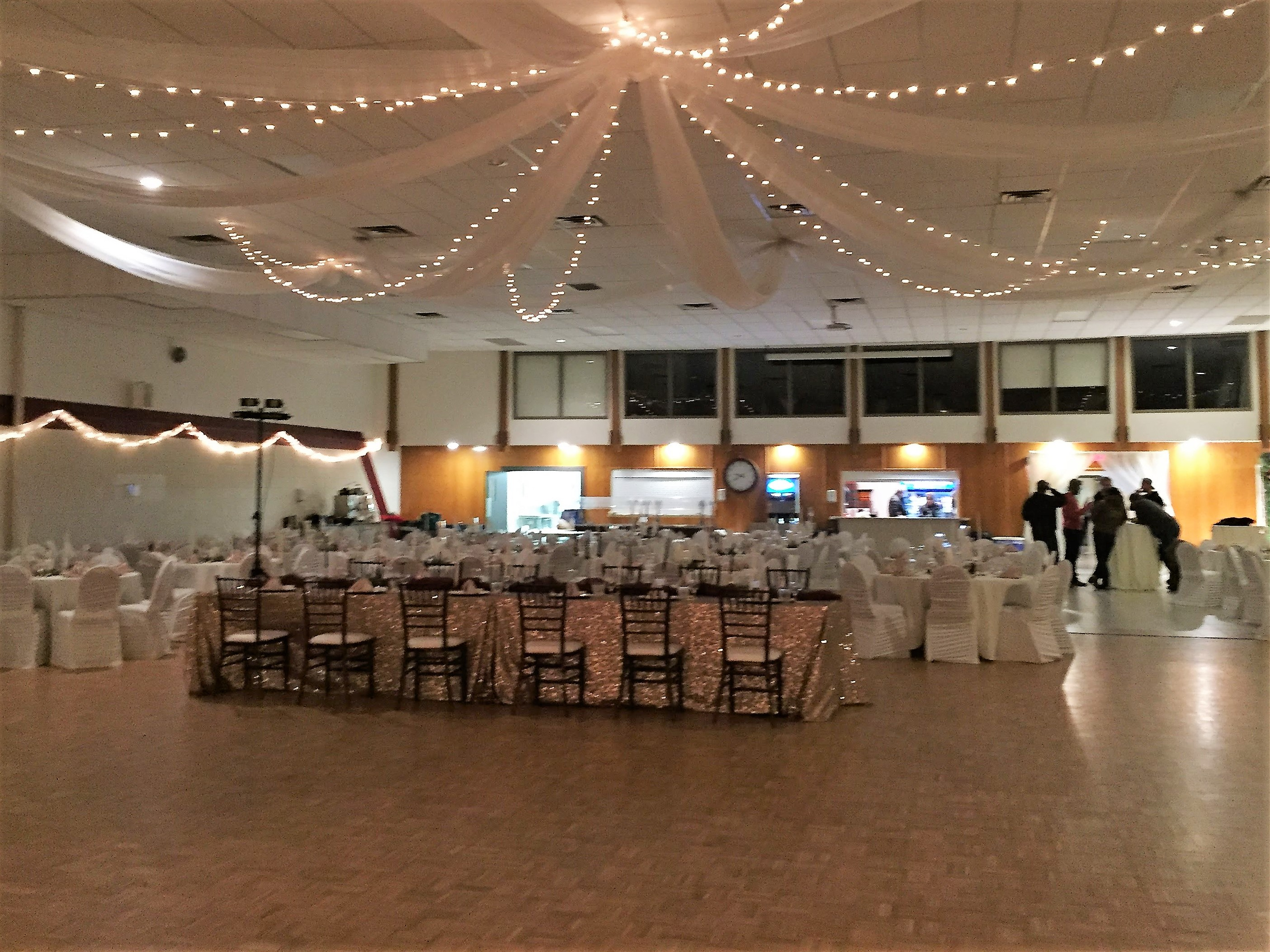 hall decorated for a wedding