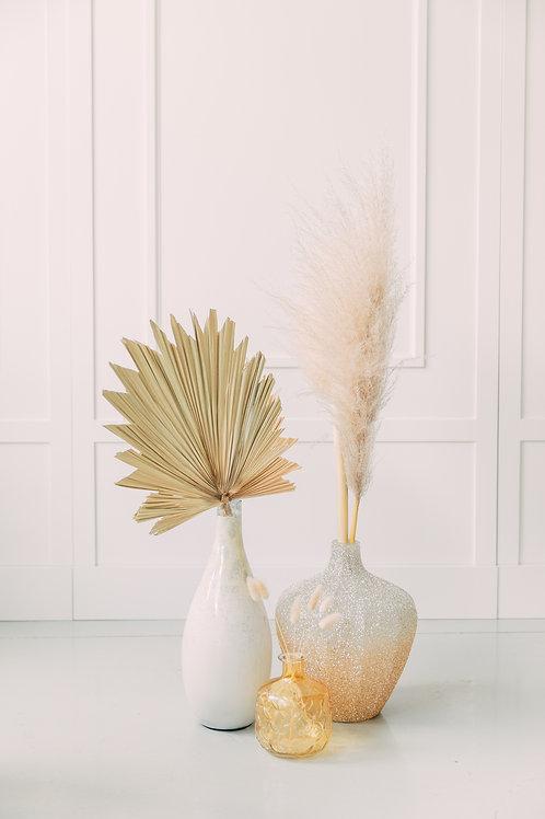 Vase Trio Gold and Cream