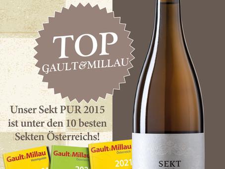 Top Bewertung für unseren Sekt PUR Große Reserve Ried Seeberg 2015