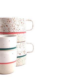 Mugs et tasses à espressos blanc pyrité avec des liserés