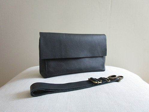 Belt Bag Designer Black  Leather Standing View