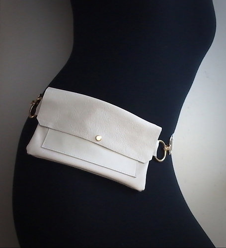 White Leather Fanny Pack Pelt And Post Front