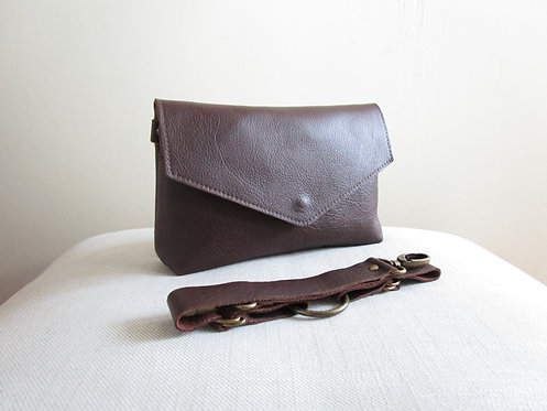 Vaneau Brown Leather Bag with Belt Standing View