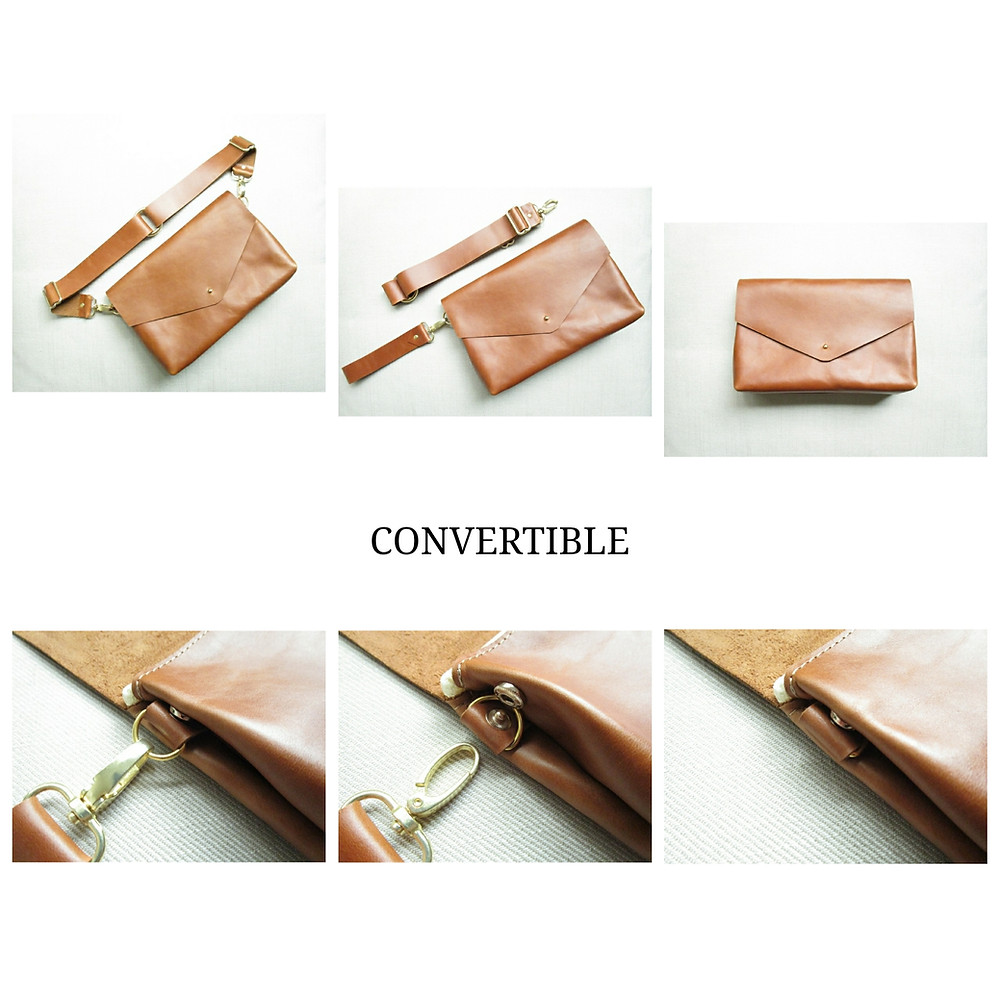 Tan Leather Pelt And Post Convertible Belt Bag displayed on a table in multiple use styles