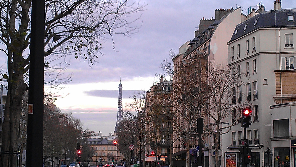 View of Eiffel Tower from outside our Montparnasse Flat