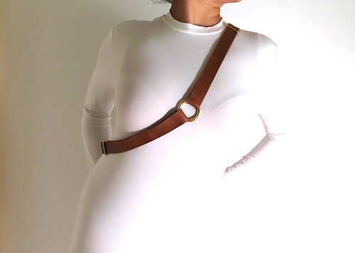 Pelt And Post Leather Belt Across Chest