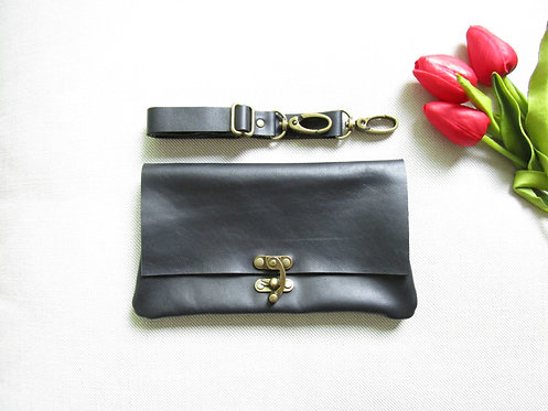 Vintage Lock Black Leather Convertible Bag Top View