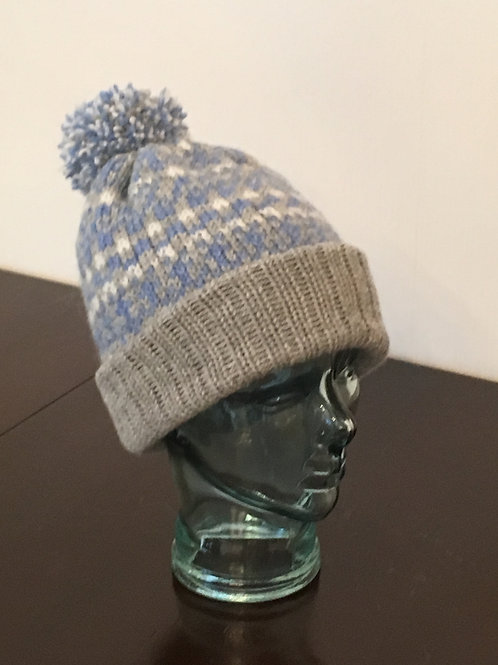 Pom Pom Pig | Silver Grey, Blue and White Hand-Knitted Hat