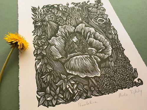 Masha and The Prints | Thumbelina, Original Linocut