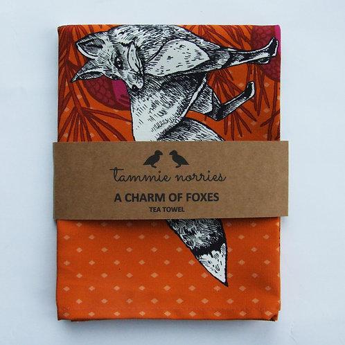 Tammie Norries | A Charm of Foxes Tea Towel