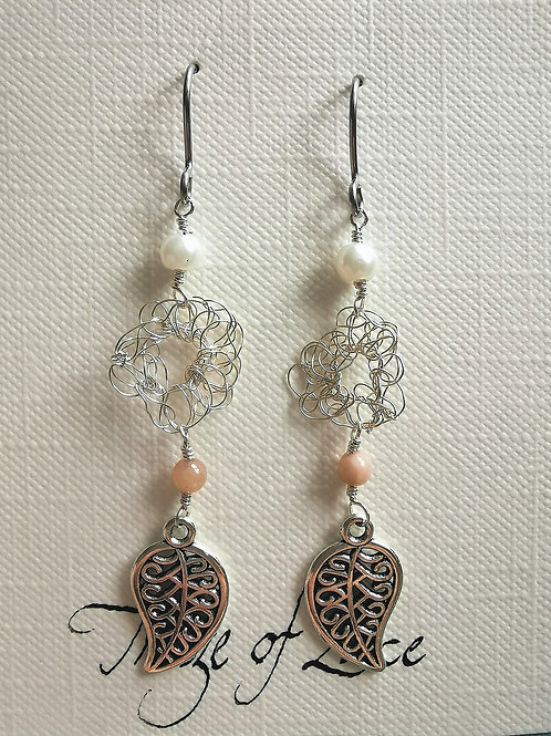 Maze of Lace | Copper Wire Earrings with Beads and Leaf Charm