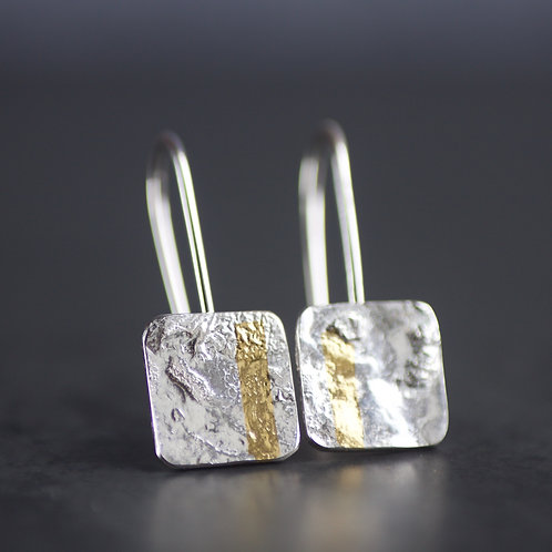Lisa Crockard | LINEAR Oxidised Silver & Gold Keum Boo Square Drop Earrings