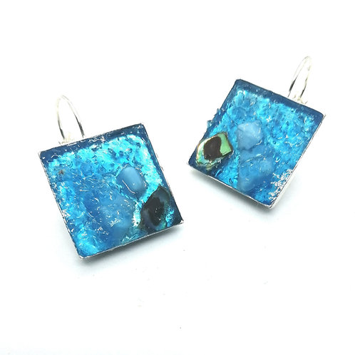 DoodleWrap Designs   Square Blue Glass and AbaloneEarrings