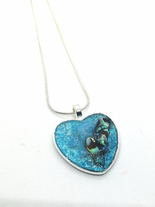 DoodleWrap Designs | Blue Glass and Abalone Heart Pendant