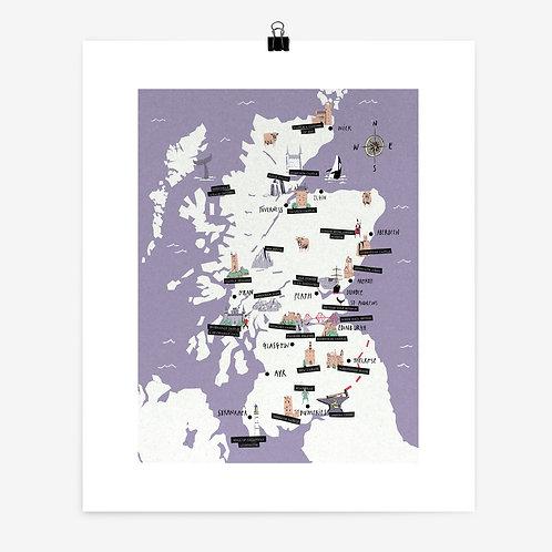 Alexander Jackson   Scotland Map Print