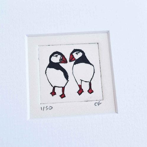 Sally J Fisher | Original Framed Collagraph Prints in Mini Square Frames