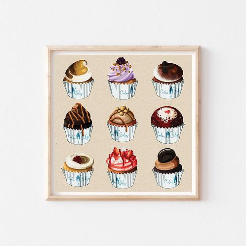 Harriet Julia Art | Fine Art Print, Cuckoo's Cupcakes Edinburgh