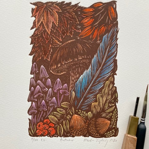 Masha and The Prints | Autumn, Original Linocut