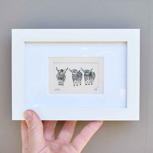 Sally J Fisher | Original Framed Collagraph Prints in Small Rectangular Frames