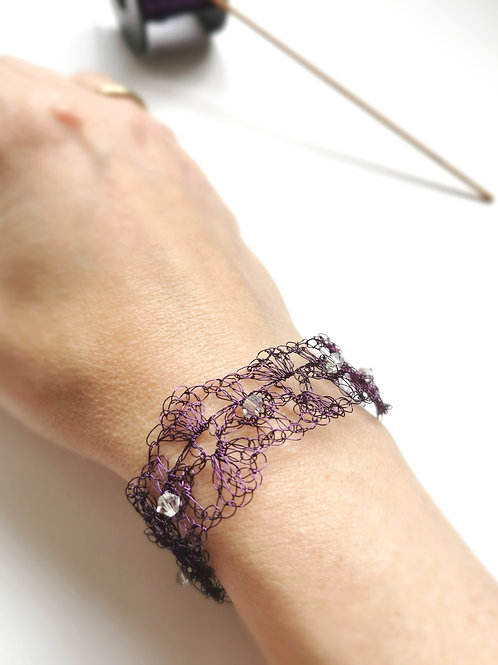 Maze of Lace | Dark Purple Crochet Copper Wire Bracelet with Swarovski
