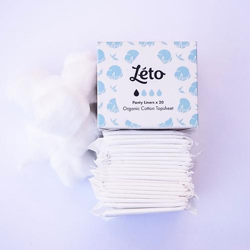 Léto   Panty Liner - Certified Organic Cotton Topsheet - (2 x Boxes of 20)