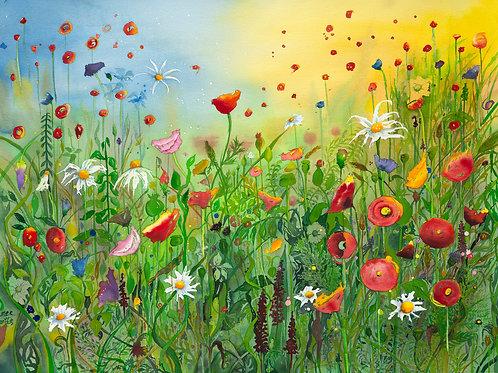 Emer Beattie Art   Paul Simon and my Wildflower Garden, Giclée Print