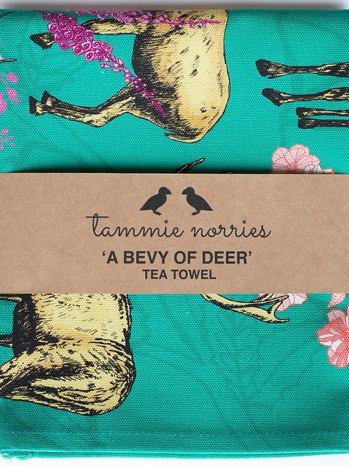 Tammie Norries | A Bevy of Deer Tea Towel