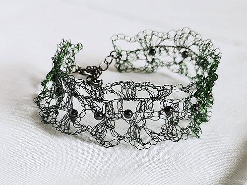 Maze of Lace   Dark Green copper wire bracelet with Hematite beads