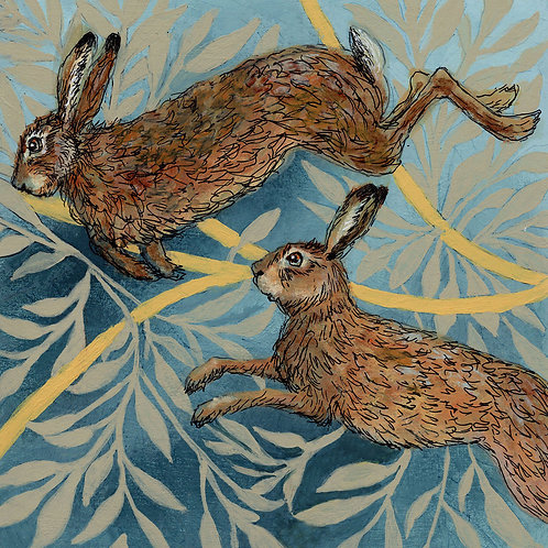 Between the Woods and Sea | Hares in the Forest Print