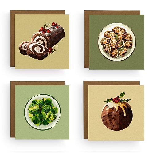 Harriet Julia Art | Foodie Christmas Card Bundle (Pack of 4 or 8)